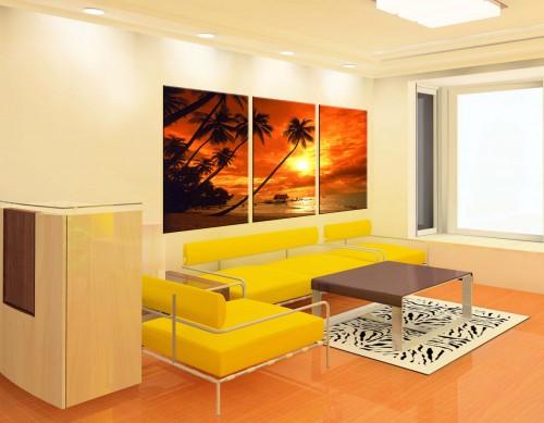 Quadri moderni astratti spiaggia mare palme tobago for Quadri particolari moderni
